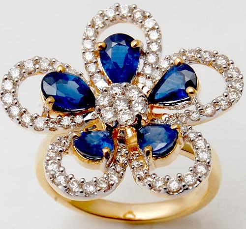 Designer Petals And Flower Ring Blue Sapphire Stud