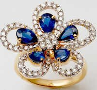 Designer Petals And Flower Ring Blue Sapphire Stud