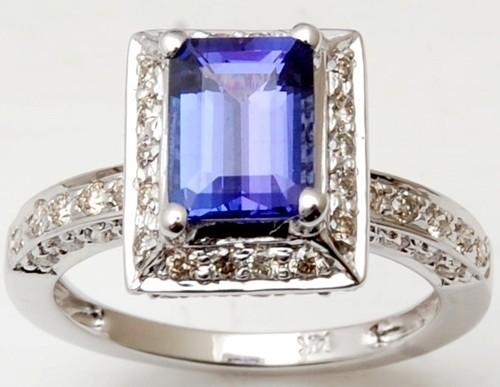 18K White Gold Tanzanite Micro Pave Diamond Gold R