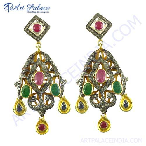 Indian Deisgner Gold Plated Silver Emerald, Ruby & Sapphire Victorian Earrings