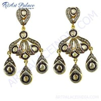 Unique Designer Gold Plated Silver Diamond Earrings Jewelry