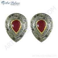Designer Gold Plated Silver Cute Diamond & Ruby Stud Earrings