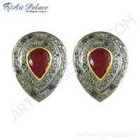 Designer Gold Plated Silver Cute Diamond & Ruby Stud Earrings