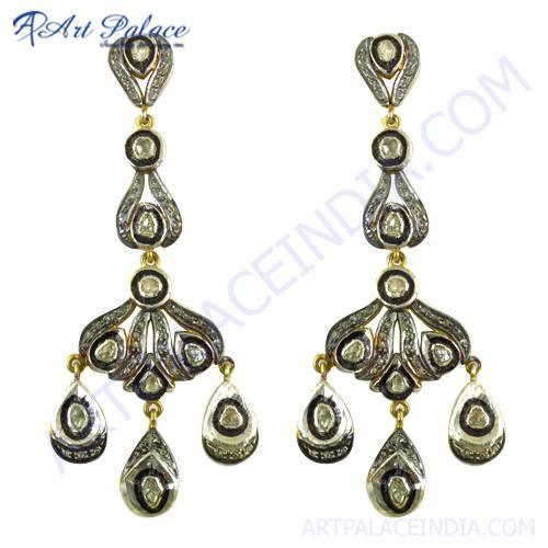 Festival Deisgner Jewelry, Gold Plated Silver Diamond Victorian Earrings