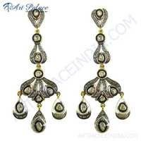 Festival Deisgner Jewelry, Gold Plated Silver Diamond Victorian Earrings