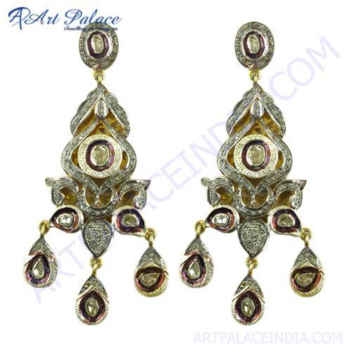 Precious Antique Designer Gold Plated Silver Diamond Victorian Earrings