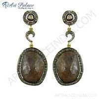 Attractive Diamond & Sapphire Gold Plated Silver Earrings Jewelry