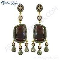 Latest Fashionable Diamond & Ruby Gold Plated Silver Earrings