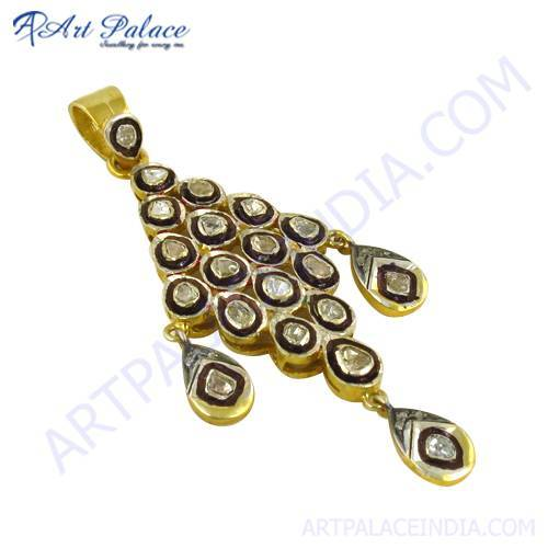 Indian Traditional Gold Plated Silver Victorian Diamond Pendant