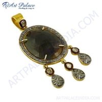 Luxurious Diamond & Sapphire Gold Plated Silver Pendant Jewelry