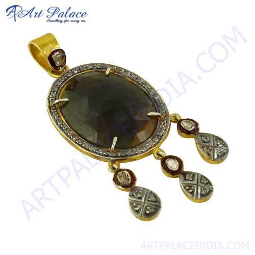 Luxurious Diamond & Sapphire Gold Plated Silver Pendant Jewelry