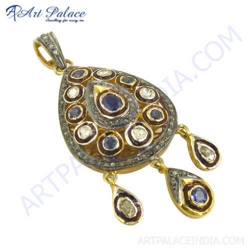 Traditional Diamond & Sapphire Pendant