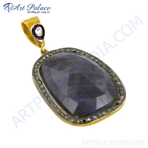 Diamond & Sapphire Gold Plated Pendant