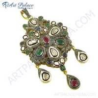 Fastival Wear Diamond, Emerald, Ruby & Sapphire Gold Plated Silver Pendant