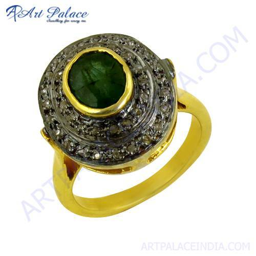 Traditional Designer Diamond & Emerald Gold Plated Silver Ring