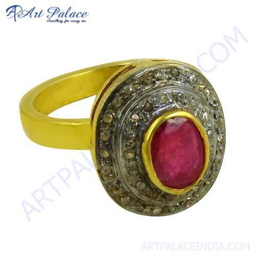Feminine Unique Design Diamond & Ruby Gold Plated Silver Ring