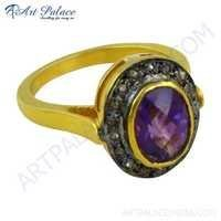 Truly Designer Amethyst & Diamond Gold Plated Silver Victorian Ring