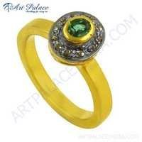 Diamond & Emerald Gold Plated Silver Ring