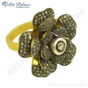 Antique Flower Designer Gold Plated Silver Diamond Ring Jewelry
