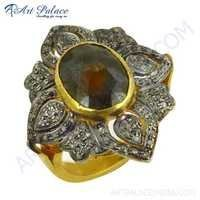 Victorian Gold Plated Silver Diamond Bridal Wear Designer Jewelry Ring