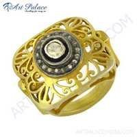 Fret Work Designer Gold Plated Silver Diamond Victorian Ring Jewelry