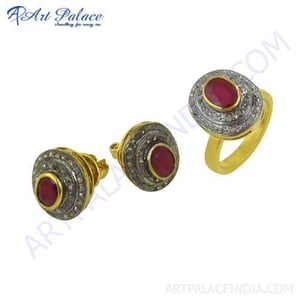 Indain Designer Diamond & Ruby Gold Plated Silver Ring & Earring Set Jewelry