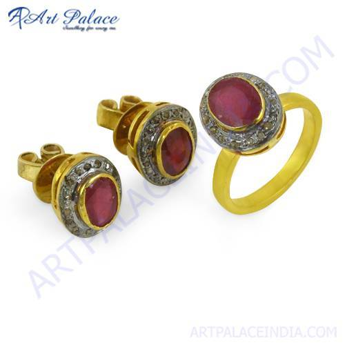 Victorian Designer Diamond & Ruby Gold Plated Silver Ring & Earring Set Jewelry