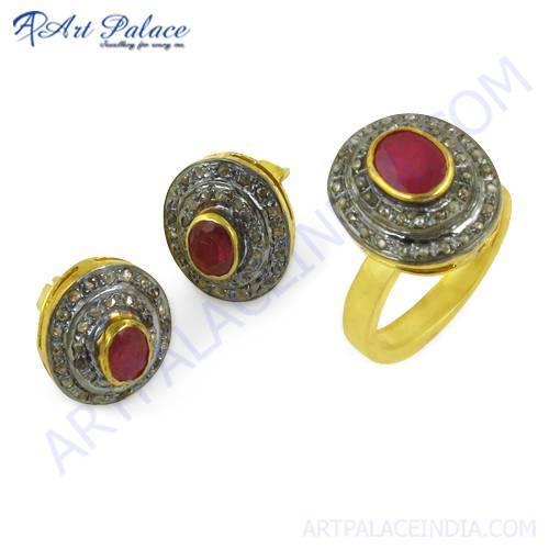 Feminine Unique Designer Diamond & Ruby Gold Plated Silver Ring & Earring Set