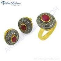 Feminine Unique Designer Diamond & Ruby Gold Plated Silver Ring & Earring Set