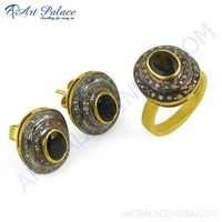 Fabulous Gold Plated Silver Ring & Earring Set With Diamond & Tourmaline