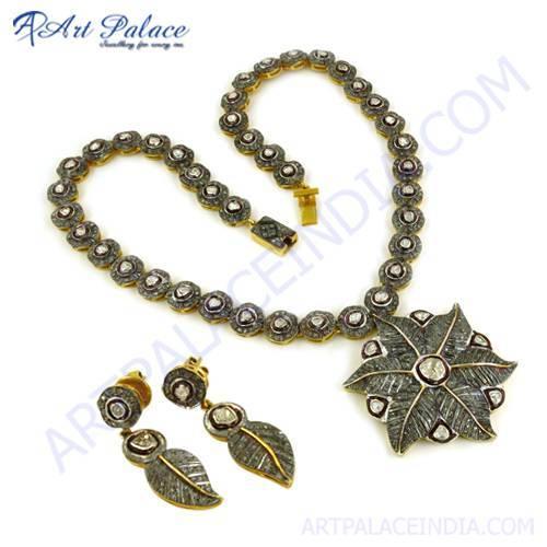Festival Wear Deaigner Gold Plated Silver Diamond Victorain Earring & Necklace Set Jewelry