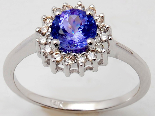 cluster ring design with round tanzanite and diamond in 18k white gold for daily wear from valentine