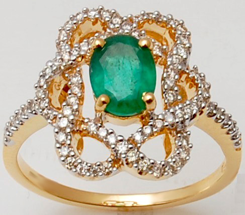 flower design ring in solid real, emerald gold ring, designer emerald ring in yellow for gi