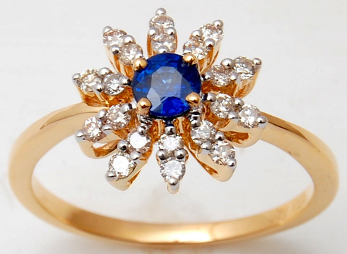 simple gemtone ring in blue stone, sun shaped blue sapphire ring, diamond and round yellow gold ring