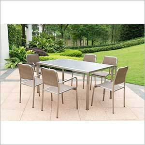 Modern Stainless Steel Dining Set