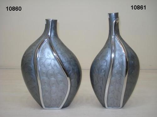 Gray Enameled Flower Vase