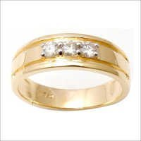 Three diamond mens gold ring