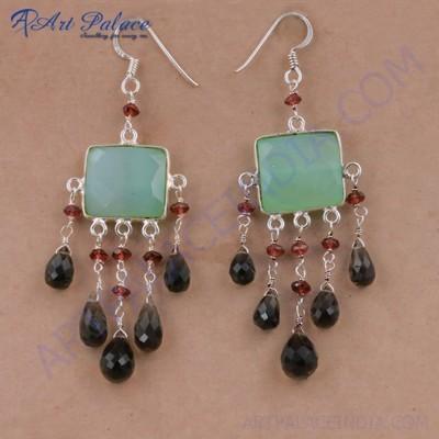 Unique Style Aqua Calchydony & Garnet Gemstone Silver Beaded Earrings