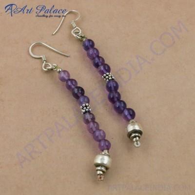 Rady to Wear Amethyst Gemstone Silver Beaded Earrings