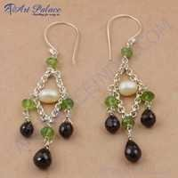 Party Wear Designer Pearl, Peridot & Smokey Quartz Gemstone Silver Beaded Earrings