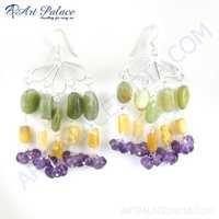 Famous Style Amethyst, Green Aventurine & Yellow Aventurine Gemstone Silver Earrings