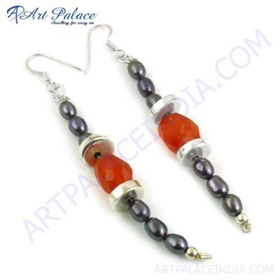Trendy Black Pearl & Carnelian Gemstone Beaded Silver Earrings