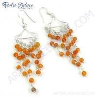 Excellent Designer Carnelian Gemstone Silver Beaded Earrings