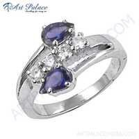 Pretty Unique Style CZ & Iolite Gemstone Silver Ring