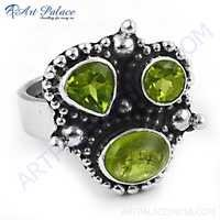 Traditional Designer Peridot Gemstone Silver Ring