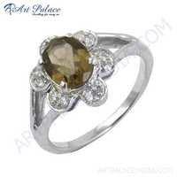 Antique Style CZ & Smokey Quartz Gemstone Silver Ring
