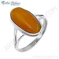 New Natural Amber Gemstone Silver Ring