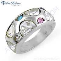 Charming Blue Topaz, Cubic Zirconia & Pink Cubic Zirconia Silver Ring