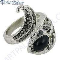Hot Black Onyx & Gun Metal Gemstone Silver Marcasite Jewelry Ring