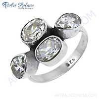 Cubic Zirconia Gemstone Stylish 925 Sterling Silver Ring